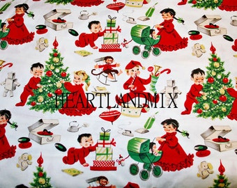Vintage Antique Children with Christmas tree, toys, Christmas paper wall art printable download Digital Image