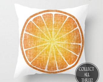 Orange Citrus Fruit Slice Art Zippered Cushion Case Pillow Cover // Indoor or Outdoor 2-Sided 16X16 18X18 20X20