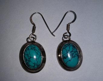Vintage Sterling Silver and Turquoise Boho Dangle Pierced Earrings 1980's Blue Stone Earrings Sterling Silver Earrings 925 Turquoise Jewelry