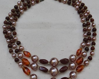 Vintage Three Strand Beaded Choker Necklace in Brown, Gold and Silver Beads with Butterfly Hook Clasp