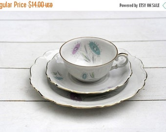 SALE White Ornate Pastel Floral German Teacup Trio Set- Vintage Traditional Cup Saucer and Cake Plate Afternoon Tea Scalloped Edge