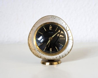 Small Vintage German Mechanical Alarm Clock- Retro Space Age Black and Silver Gold Egg Shaped Office Desk Accessory