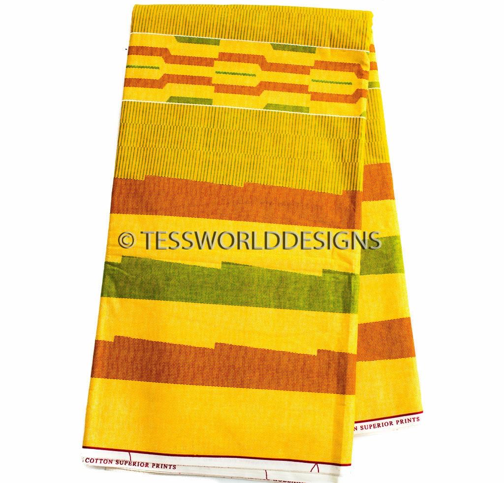 Wholesale yellow kente fabric kente print kente cloth for Cheap cloth material