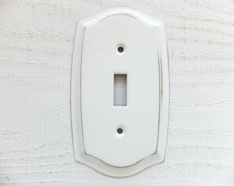 1 Light Switch Plate Shabby Chic Off-White Gold Electrical Cover Curved Cottage Painted Vintage Metal Single Toggle Decor ITEM DETAILS BELOW
