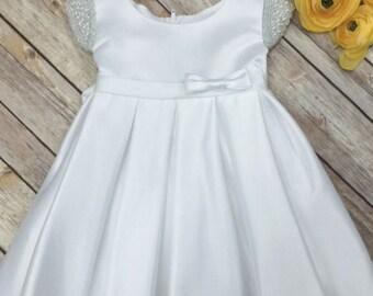 White Baby Dress Baby Baptism Dress White baby dress white baptism dress toddler ivory baby baptism dress satin baptism dress