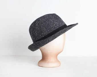 Vintage Grey Tweed Wool Fedora Hat