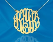 Monogram Necklace - 1.25 inch 24K Gold Plated Sterling Silver Handcrafted Personalized Monogram Necklace - Made in USA