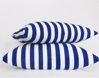 Set 2 Navy White Striped Decorative Pillow Cover,Throw pillow, Home Living Decorative Striped Pillow,Sizes12,14,16,18,20,22,24,26,28,30 inch