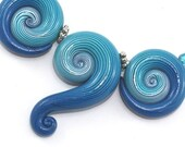 SALE 20% OFF Polymer Clay beads with unique stripes, elegant big gradient spiral beads in turquoise, blue and white, set of 3 Ombre beads