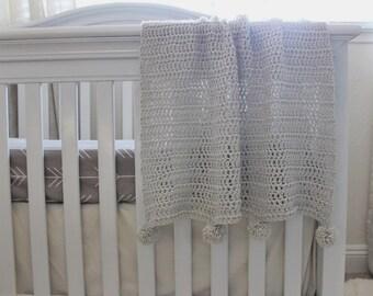 Blanket Infant, Baby, Toddler : Grey Crochet Pom