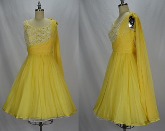 1950s Daffodil Yellow Chiffon, White Lace, Rhinestone & Pearl Party Dress