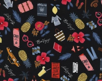 Rifle Paper Co. Bon Voyage in Black Metallic Fabric Modern Les Fleurs Collection Cotton + Steel Collaboration Tropical Fabric Anna Bond