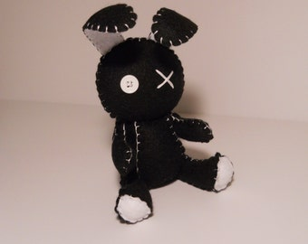 Felt little goth black bunny rabbit plush stuffed toy
