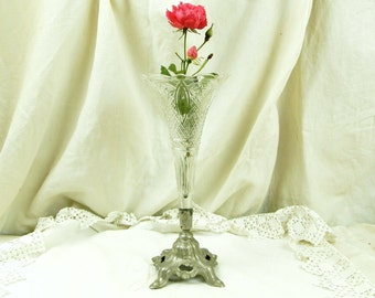 Antique French Glass and Metal French Vase / Brocante / French Country Decor / Shabby Chic Decor / Chateau / Victorian / Floral Display