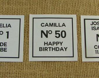"Personalized Sticker Labels - Classic Couture Design - 12 3"" Squares - Wedding Favor - Shower Favor - ANY OCCASION - cc5"