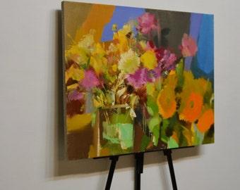 Orange Painting, Original Still Life Oil Painting, Abstract Still Life Painting, Contemporary Painting Flowers Painting Floral