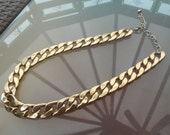 SALE vintage large chain link gold plated necklace - 20inch -  sent gift boxed