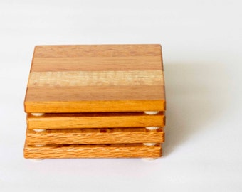 Wood Coasters, wooden coasters, surface protection, drink coasters Handcrafted, set of 4