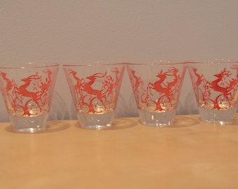 Set of Four Vintage Tumblers with Red Deer/Antelopes