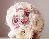 SALE - Ready to Ship, Fabric Brooch Bouquet, Vintage Wedding, Fabric Flower Bouquet, Mauve, Dusty Mauve, Ivory, Off White