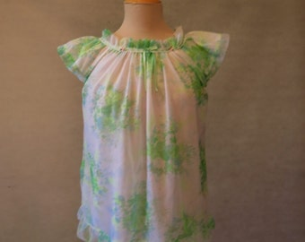 Green Floral Baby Doll Pyjama Top - 1960s