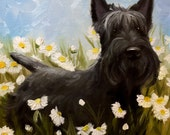 PRINT Scottie Dog Scottish Terrier Picking Daisies pet art dog print of painting / Mary Sparrow Whimsical Canine Artwork