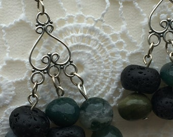 Gemstone Earrings, Green Moss Agate, Agate, Black Lava Stone Earrings, Handmade Earrings, Desingner Agate Earrings, K Brown Jewellery, U K