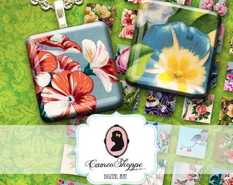 75% OFF SALE COLORFUL Garden 1 inch Square Digital Collage Sheet Printable pendants magnets scrapbooking