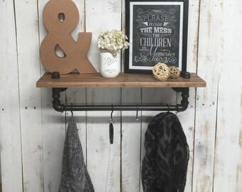 coat rack, wall coat rack, rustic shelf, rustic coat rack, coat rack shelf, wood coat rack