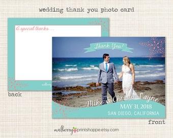 Modern Starfish Wedding Photo Thank You Card - Printable or Printed Cards