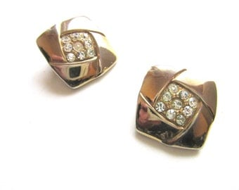 Rhinestone & Gold Tone Earrings Clip On