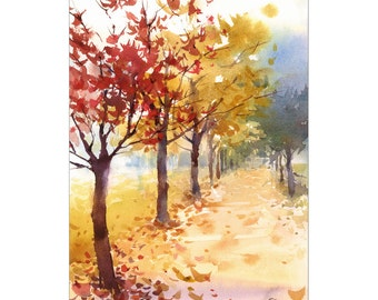 Fall Landscape - Original Watercolor Painting 9 1/2 x 13 1/4 inches