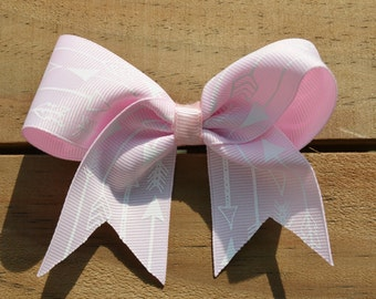 "Native American Arrows Pink 4"" Medium Hair Bow Clip Infant Toddler Girls"
