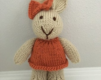 Stuffed Animal - Handmade Toy - Rabbit in Dress - Stuffed Bunny - Soft Toy - Knitted Bunny