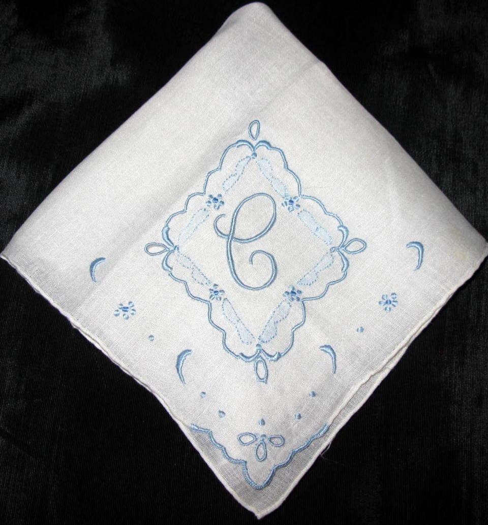 Wedding Something Blue Handkerchief Bridal By VintagebyTeresa