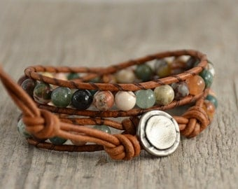 Earthy, natural, hippie style leather wrap bracelet