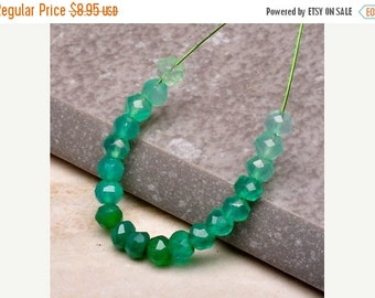 Autumn Sale Natural Green Onyx Rondell Beads, 3.5mm Faceted, Ombre Greens 19 Beads