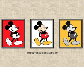 DIGITAL DOWNLOAD Classic Mickey Mouse Printable Wall Art - Set of 3 - Color, Black/Red, Gray/Yellow