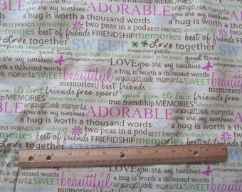 35 Inches Cream Friendship Words/Phrases Flannel Fabric