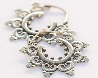 Silver Temple Flower Hoops (JS-E-032)