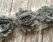 Gray ** Shabby Flowers Chiffon Rosettes Shabby Flower trim- *Your choice of 1/2 yard or 1 Yard