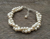 MEMORIAL DAY SALE Cream Ivory Pearl Bracelet Bridal Bracelet Twisted Clusters on Silver or Gold Chain