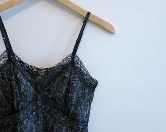 Dress black lace slip Rockabilly ALL LACE 1950s vintage pink wiggle lingerie Van Raalte 32