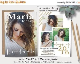SALE Senior Graduation Announcement Card Photoshop Template,Photoshop Template for Photographers,Photo Card Template,sku gr16-6