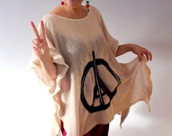 SALE !!! Handmade Nuno Felted Wool Cream Ecru Oversized Tunic Wearable Art