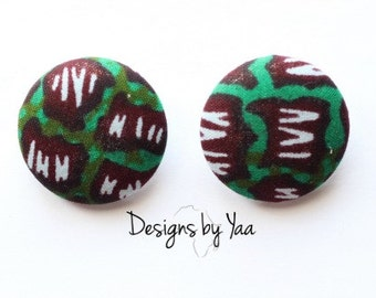 LARGE Green Patch Button Earrings