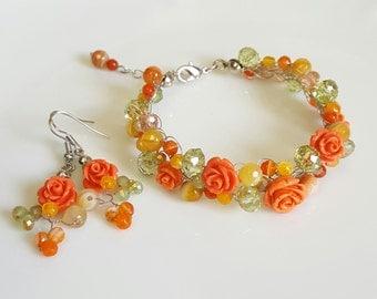 Wire Crochet Green Bracelet,Roses Bracelet,Crystals Jewelry Set(bracelet,earrings),Garden Wedding Bracelet,Flower handmade by CyShell.