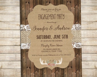 Rustic Engagement Party Invitation, Rustic Wedding Shower Invitation, Antler and Burlap.  Printable, Digital _1211