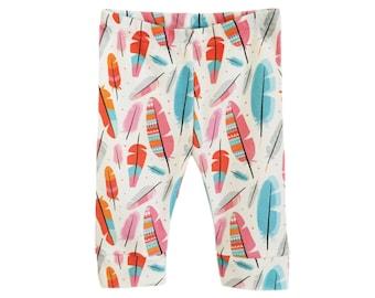 organic baby leggings, Summer baby, baby leggings in Multi Feathers, baby pants, hipster baby, girls leggings, organic baby clothes