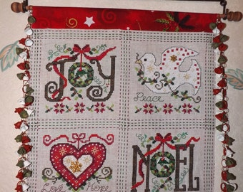 Banner Christmas - handmade in counted point embroidery